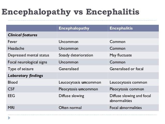Encephalopathy vs Encephalitis Encephalopathy Encephalitis Clinical features Fever Uncommon Common Headache Uncommon Commo...