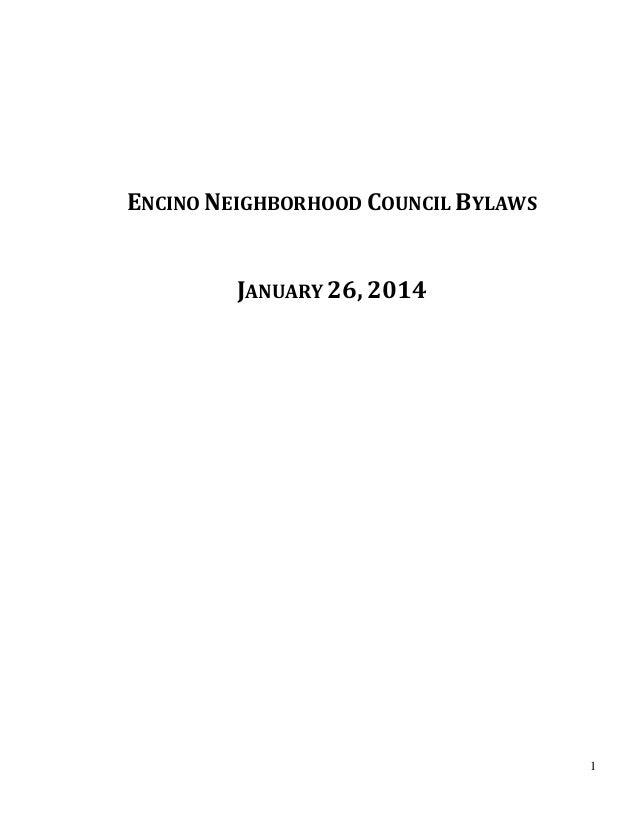 1 ENCINO NEIGHBORHOOD COUNCIL BYLAWS JANUARY 26, 2014