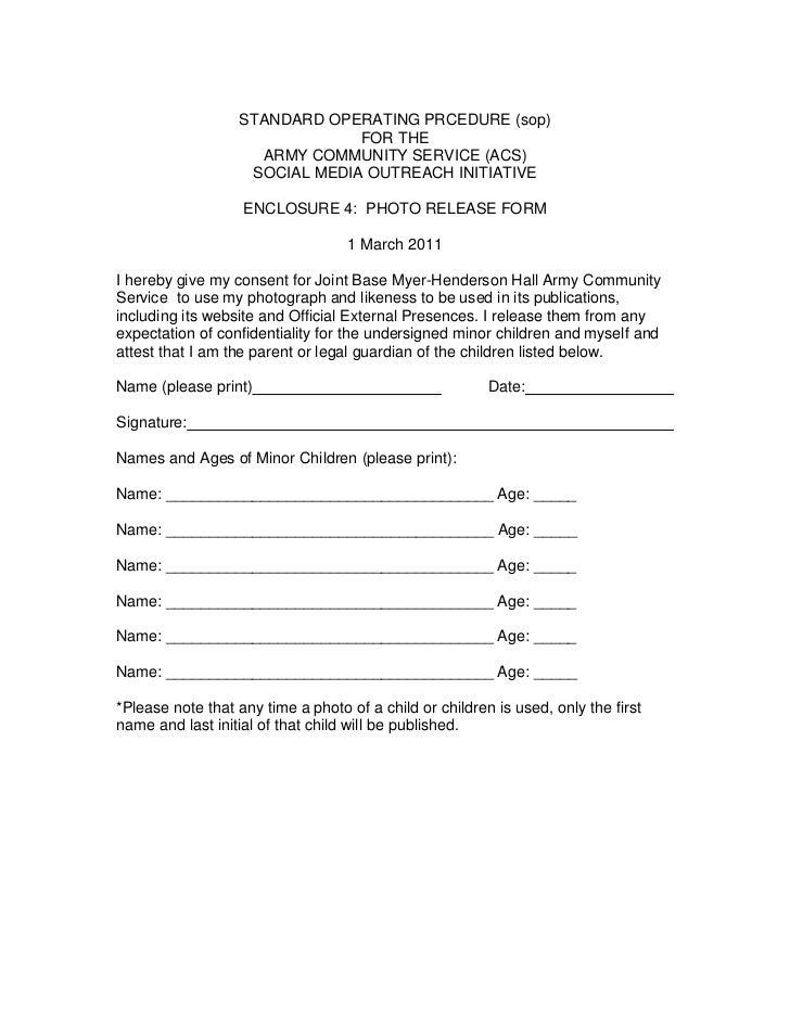 Encl 4 Photo Release Form. STANDARD OPERATING PRCEDURE (sop)u003cbr /u003eFOR THE  U003cbr /u003e