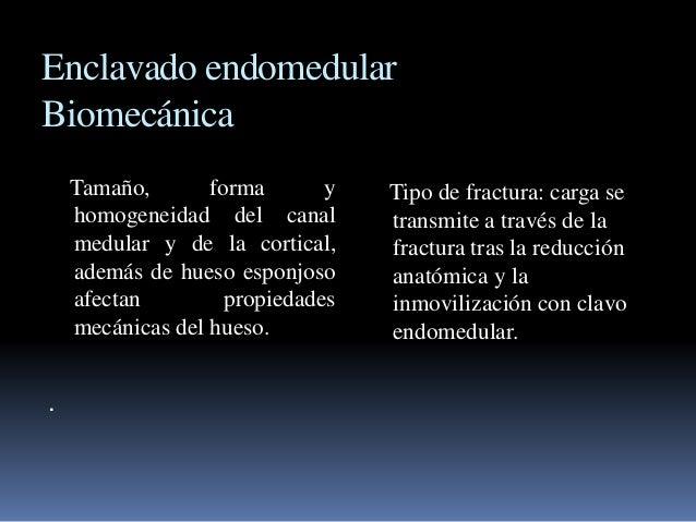 Enclavado endomedular  Biomecánica  Tamaño, forma y  homogeneidad del canal  medular y de la cortical,  además de hueso es...
