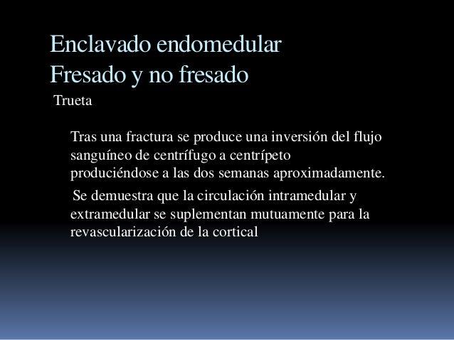 Enclavado endomedular  Fresado y no fresado  Trueta  Tras una fractura se produce una inversión del flujo  sanguíneo de ce...