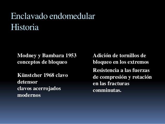 Enclavado endomedular  Historia  Modney y Bambara 1953  conceptos de bloqueo  Künstcher 1968 clavo  detensor  clavos acerr...
