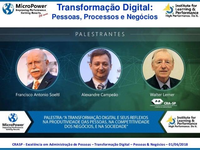 Transformação Digital: Pessoas, Processos e Negócios CRASP - Excelência em Administração de Pessoas – Transformação Digita...