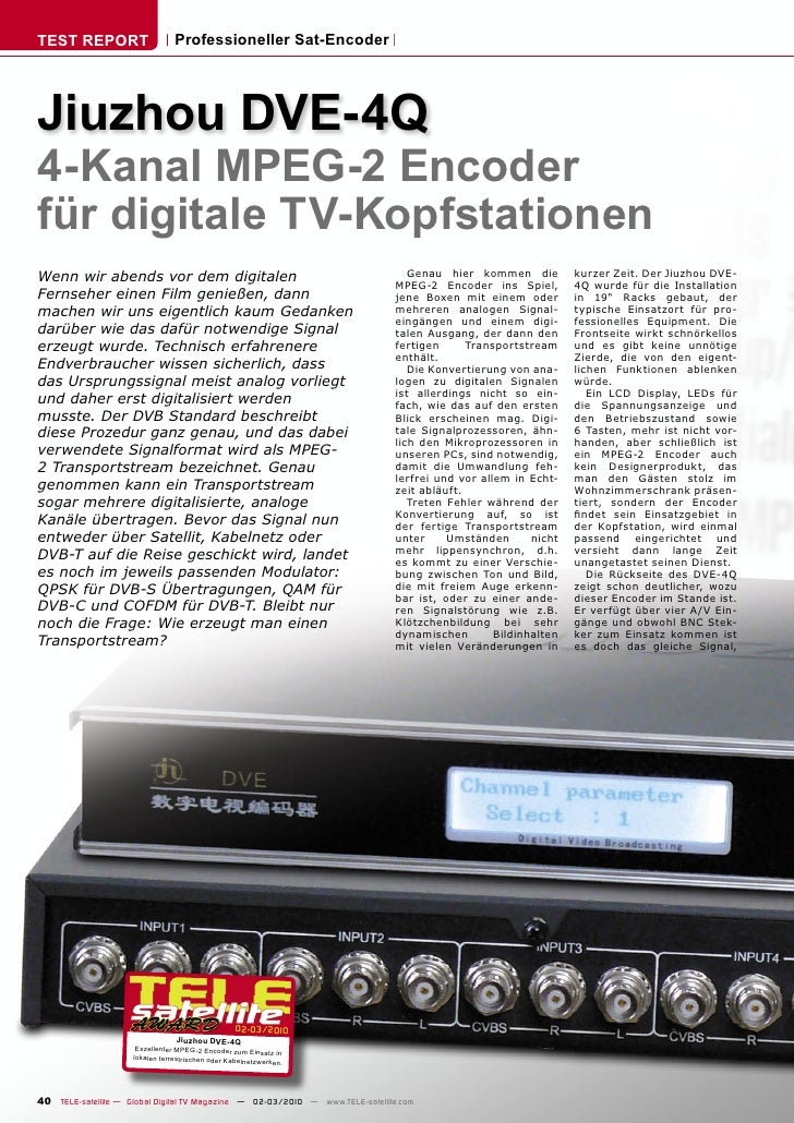 TEST REPORT                       Professioneller Sat-Encoder     Jiuzhou DVE-4Q 4-Kanal MPEG-2 Encoder für digitale TV-Ko...