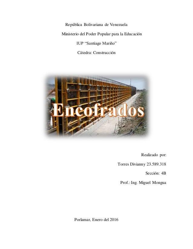 """República Bolivariana de Venezuela Ministerio del Poder Popular para la Educación IUP """"Santiago Mariño"""" Cátedra: Construcc..."""