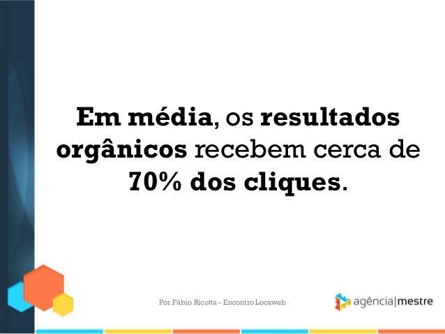 Em média, os resultadosorgânicos recebem cerca de70% dos cliques.Por Fábio Ricotta - Encontro Locaweb