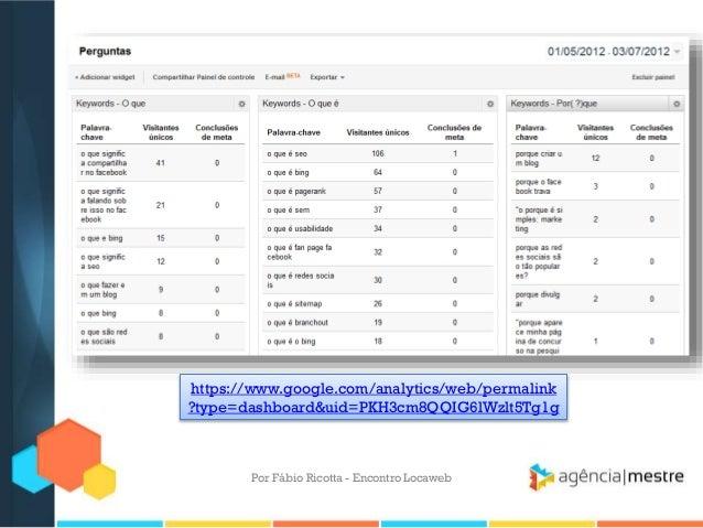 https://www.google.com/analytics/web/permalink?type=dashboard&uid=PKH3cm8QQIG6lWzlt5Tg1gPor Fábio Ricotta - Encontro Locaweb