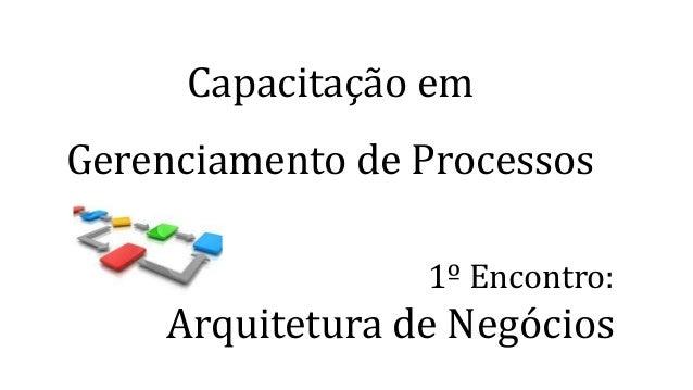 Capacitação em Gerenciamento de Processos 1º Encontro: Arquitetura de Negócios