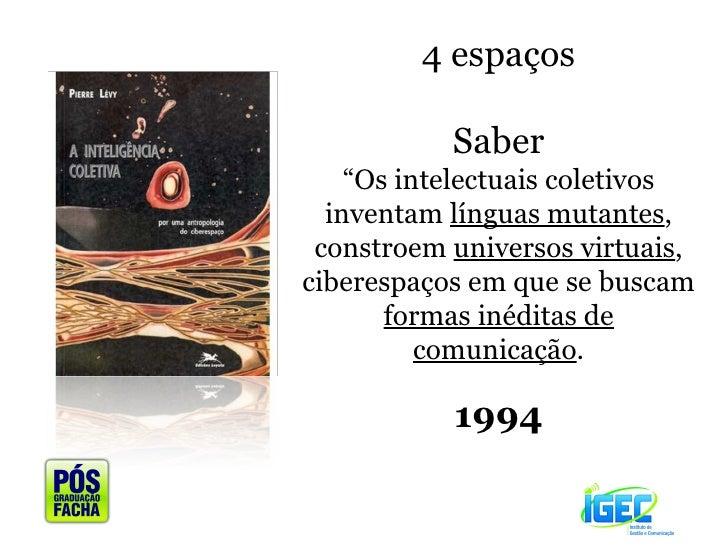 """4 espaços Saber """" Os intelectuais coletivos inventam  línguas mutantes , constroem  universos virtuais , ciberespaços em q..."""