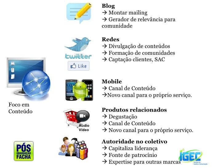 Blog     Montar mailing    Gerador de relevância para comunidade  Redes    Divulgação de conteúdos    Formação de comu...