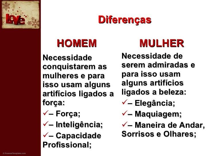 Diferenças <ul><li>HOMEM  </li></ul><ul><li>Necessidade conquistarem as mulheres e para isso usam alguns artifícios ligado...