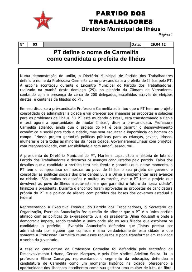 PARTIDO DOS                                      TRABALHADORES                                   Diretório Municipal de Il...