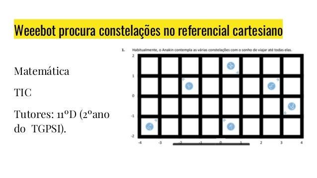 Weeebot procura constelações no referencial cartesiano Matemática TIC Tutores: 11ºD (2ºano do TGPSI).