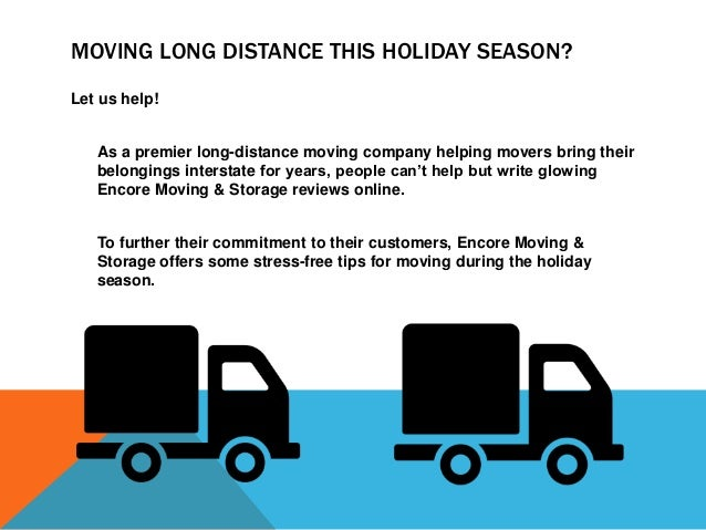 TIPS FOR MOVING LONG DISTANCE DURING THE HOLIDAYS Address-Change Notifications: The holidays are a busy time for mail and ...