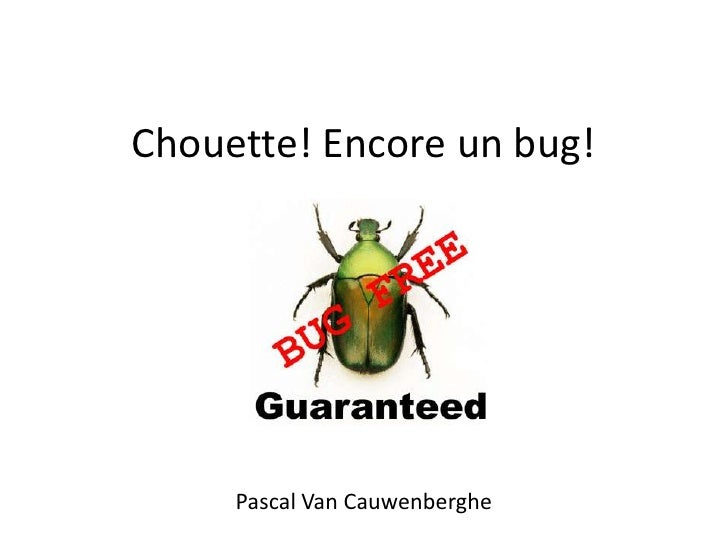 Chouette! Encore un bug!     Pascal Van Cauwenberghe