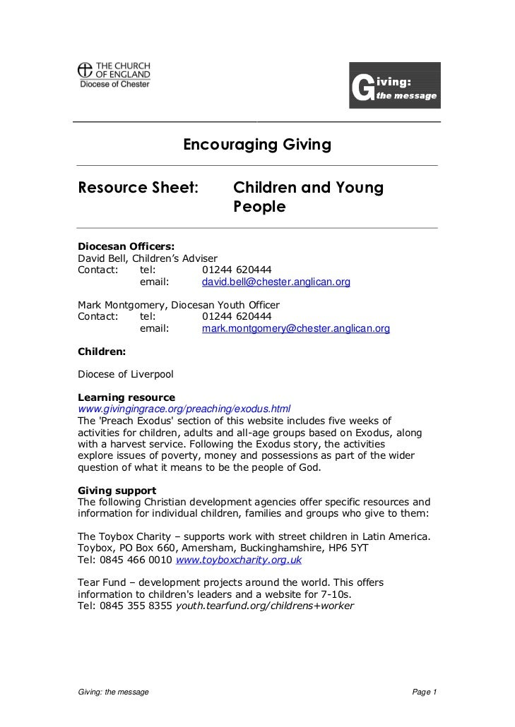 Encouraging GivingResource Sheet:                  Children and Young                                 PeopleDiocesan Offic...