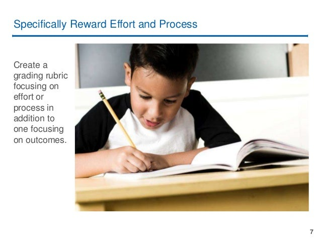 7 Specifically Reward Effort and Process Create a grading rubric focusing on effort or process in addition to one focusing...