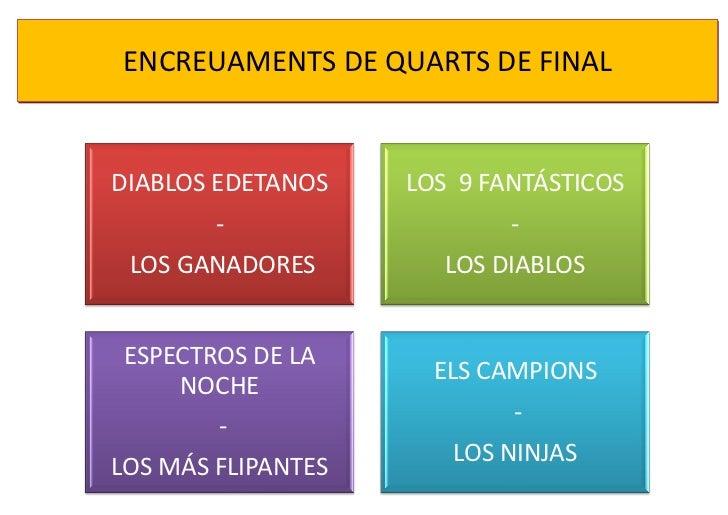 ENCREUAMENTS DE QUARTS DE FINALDIABLOS EDETANOS    LOS 9 FANTÁSTICOS        -                   - LOS GANADORES         LO...