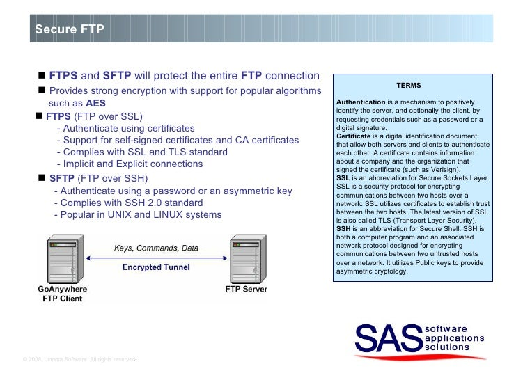 © 2008, Linoma Software. All rights reserved . Secure FTP    FTPS  and  SFTP  will protect the entire  FTP  connection  ...