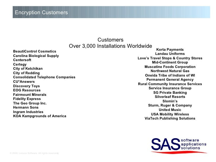 © 2008, Linoma Software. All rights reserved . Encryption Customers Customers Over 3,000 Installations Worldwide BeautiCon...