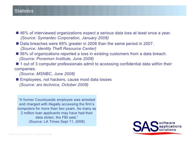 © 2008, Linoma Software. All rights reserved . Statistics    46% of interviewed organizations expect a serious data loss ...