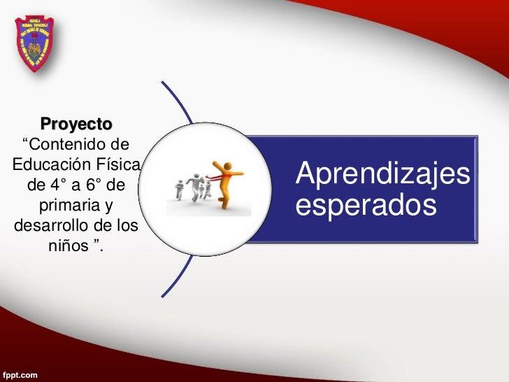 """Proyecto """"Contenido deEducación Física  de 4° a 6° de     Aprendizajes   primaria y       esperadosdesarrollo de los     n..."""