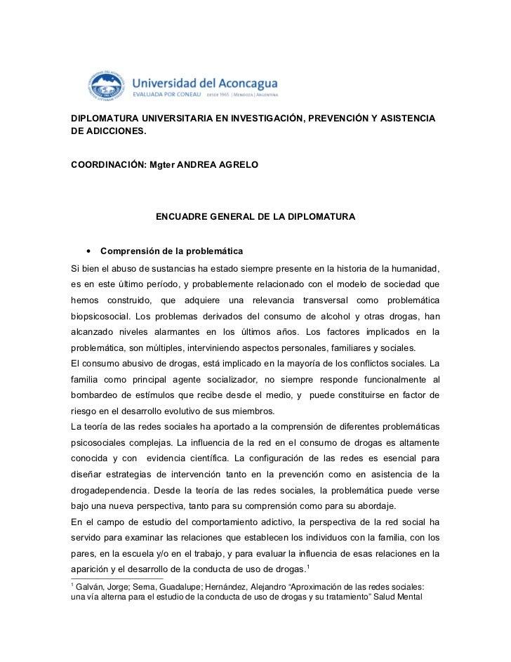 DIPLOMATURA EN ADICCIONES. ENCUADRE