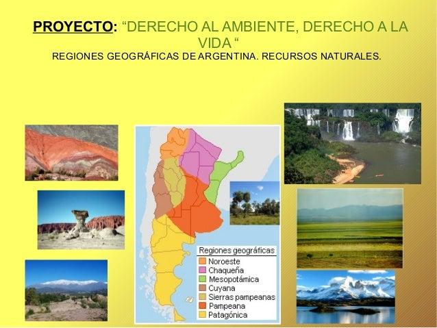 """PROYECTO: """"DERECHO AL AMBIENTE, DERECHO A LA VIDA """" REGIONES GEOGRÁFICAS DE ARGENTINA. RECURSOS NATURALES."""