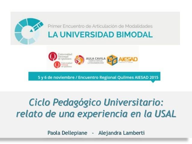 Ciclo Pedagógico Universitario: relato de una experiencia en la USAL Paola Dellepiane - Alejandra Lamberti