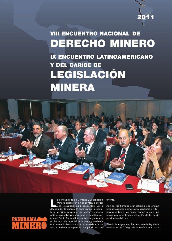 2011VIII ENCUENTRO NACIONAL DEDERECHO MINEROIX ENCUENTRO LATINOAMERICANOY DEL CARIBE DELEGISLACIÓNMINERA      os encuentro...