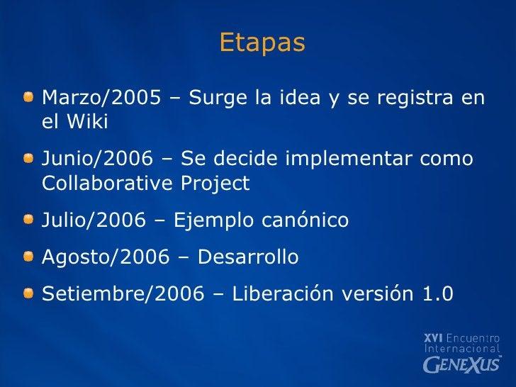 Etapas <ul><li>Marzo/2005 – Surge la idea y se registra en el Wiki </li></ul><ul><li>Junio/2006 – Se decide implementar co...