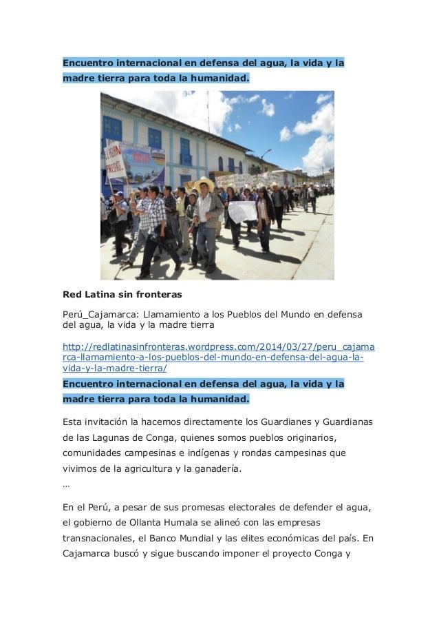 Encuentro internacional en defensa del agua, la vida y la madre tierra para toda la humanidad. Red Latina sin fronteras Pe...