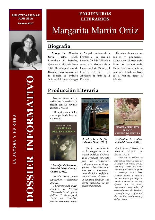 Biografía Margarita Martín Ortiz (Huelva, 1968). Licenciada en Derecho, ejerce como abogada desde 1992. Ha sido profesora ...