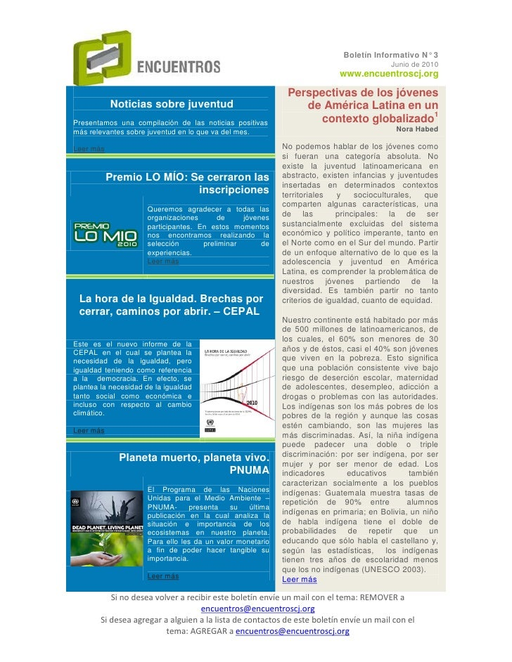 Boletín Informativo N° 3                                                                                         Junio de ...