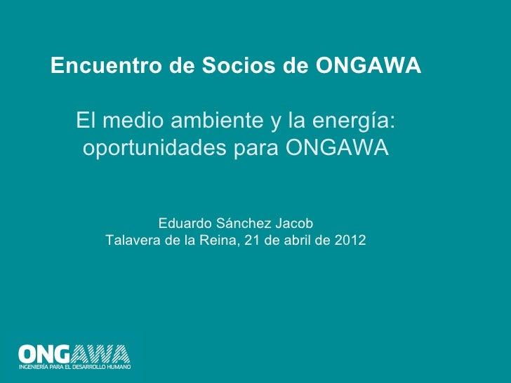 Encuentro de Socios de ONGAWA  El medio ambiente y la energía:  oportunidades para ONGAWA            Eduardo Sánchez Jacob...