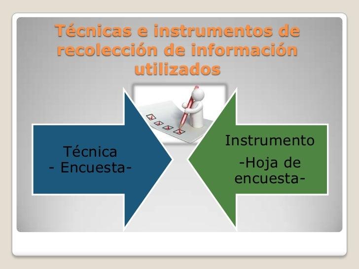 Técnicas e instrumentos derecolección de información         utilizados                  Instrumento  Técnica- Encuesta-  ...