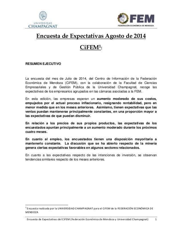 Encuesta de Expectativas del CiFEM (Federación Económica de Mendoza y Universidad Champagnat) 1  Encuesta de Expectativas ...