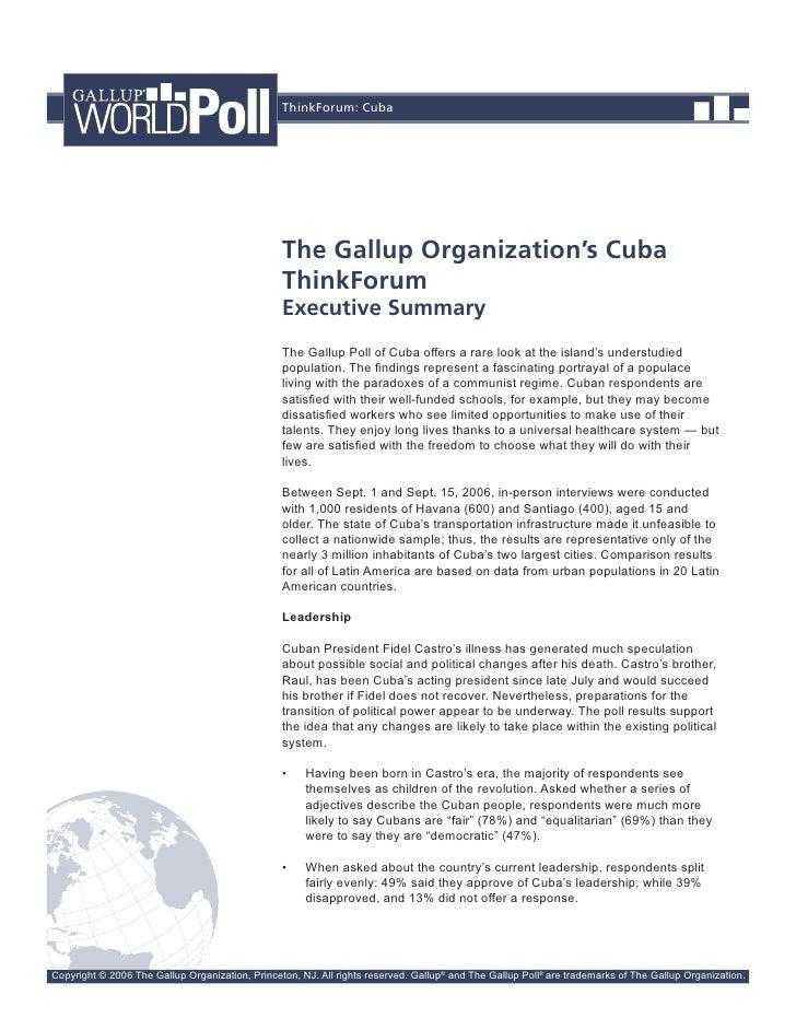 ThinkForum: Cuba                                                      The Gallup Organization's Cuba                      ...