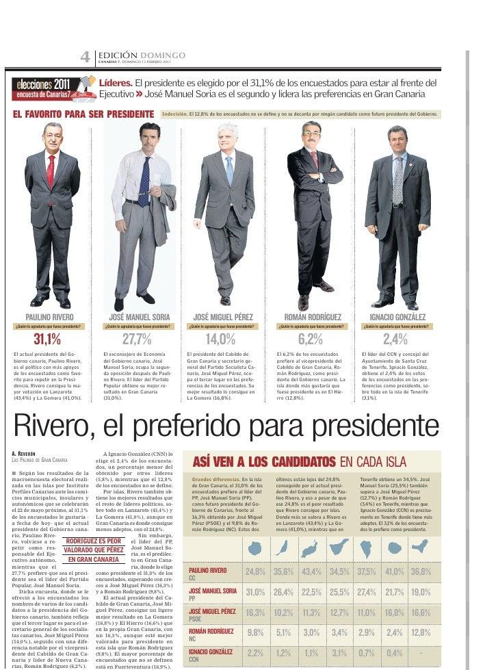 4   EDICIÓN DOMINGO                                              CANARIAS 7. DOMINGO 13 FEBRERO 2011  elecciones 2011     ...