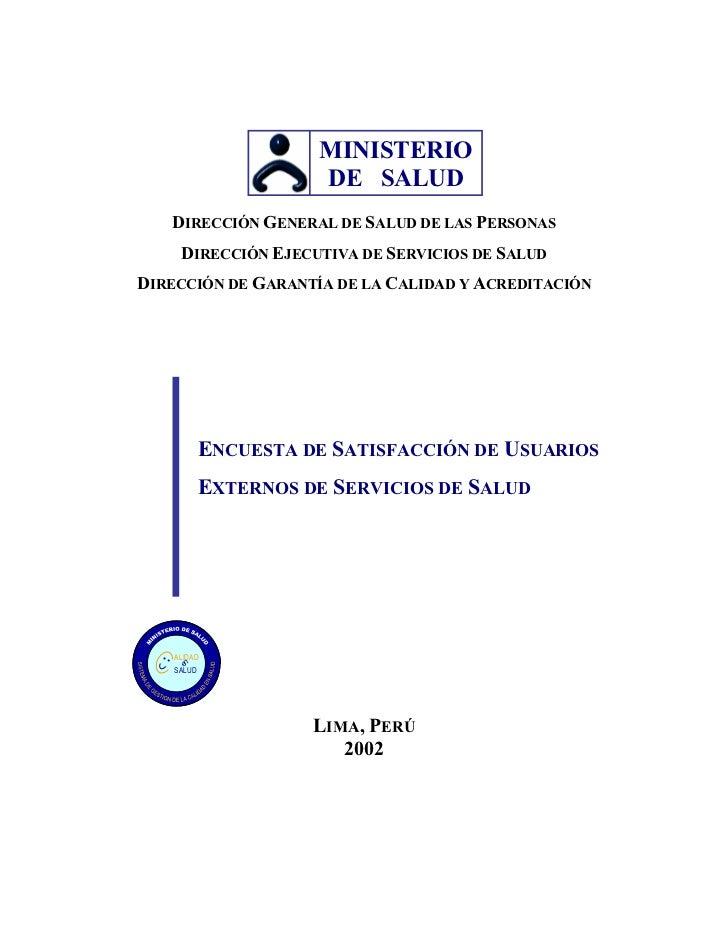 MINISTERIO                     DE SALUD    DIRECCIÓN GENERAL DE SALUD DE LAS PERSONAS      DIRECCIÓN EJECUTIVA DE SERVICIO...