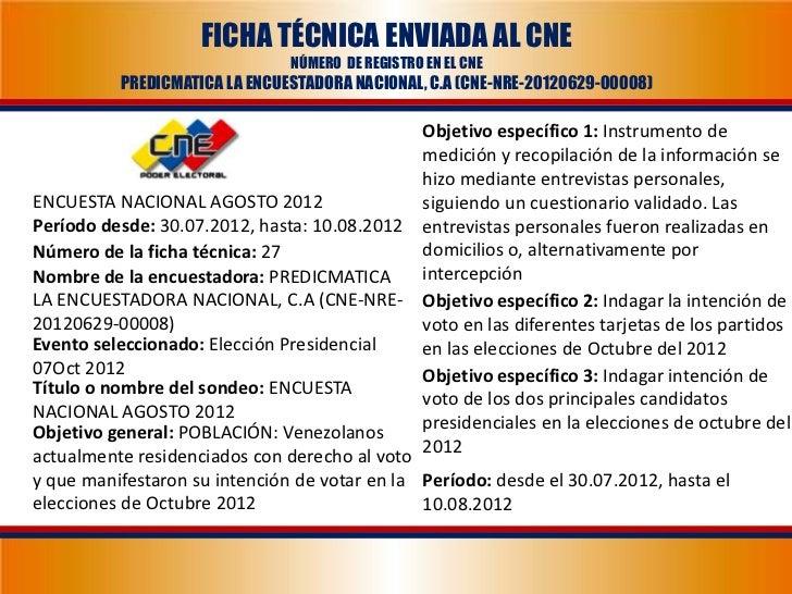 FICHA TÉCNICA ENVIADA AL CNE                               NÚMERO DE REGISTRO EN EL CNE          PREDICMATICA LA ENCUESTAD...