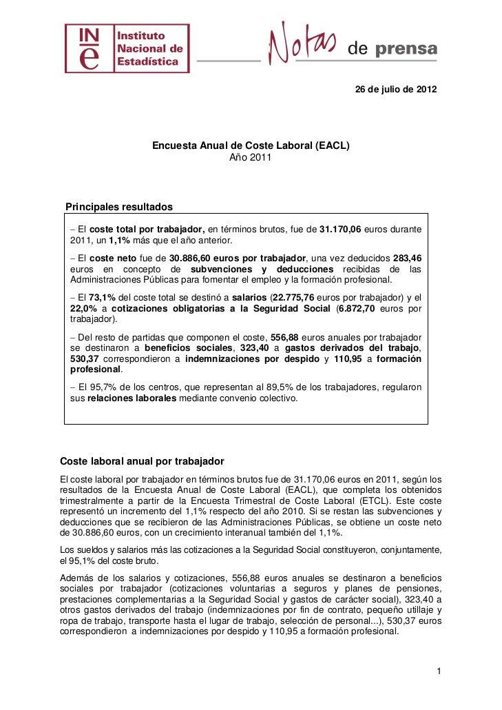 26 de julio de 2012                      Encuesta Anual de Coste Laboral (EACL)                                    Año 201...