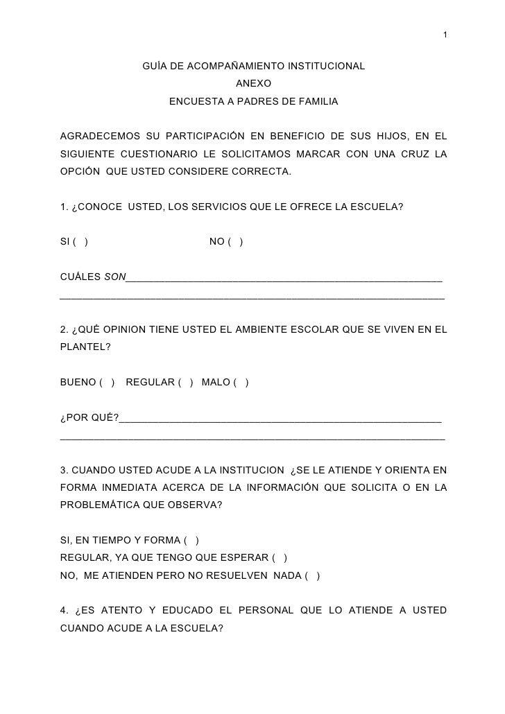 1                 GUÍA DE ACOMPAÑAMIENTO INSTITUCIONAL                                 ANEXO                    ENCUESTA A...