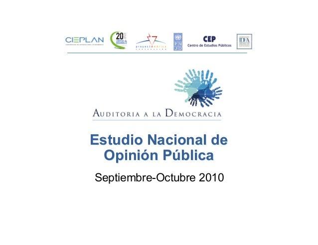 Estudio Nacional de Opinión Pública Estudio Nacional de Opinión Pública Septiembre-Octubre 2010
