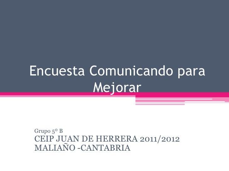 Encuesta Comunicando para         MejorarGrupo 5º BCEIP JUAN DE HERRERA 2011/2012MALIAÑO -CANTABRIA