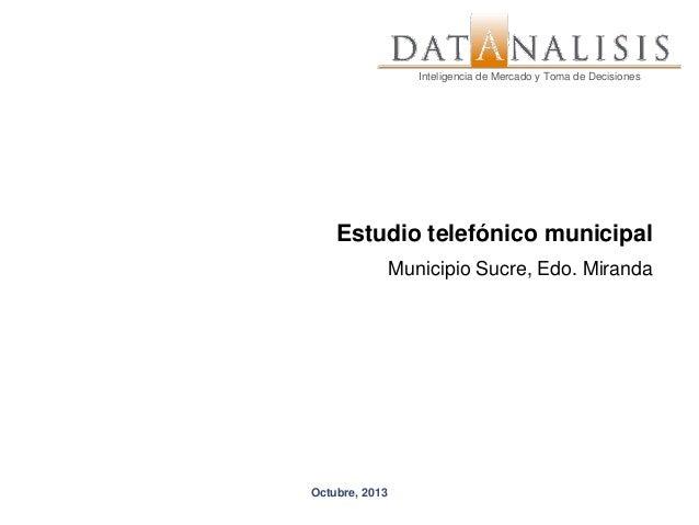 Inteligencia de Mercado y Toma de Decisiones  Inteligencia de Mercado y Toma de Decisiones  Estudio telefónico municipal M...