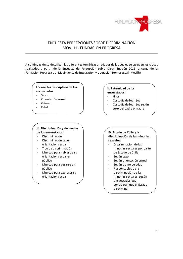 ENCUESTA PERCEPCIONES SOBRE DISCRIMINACIÓN                       MOVILH - FUNDACIÓN PROGRESAA continuación se describen la...