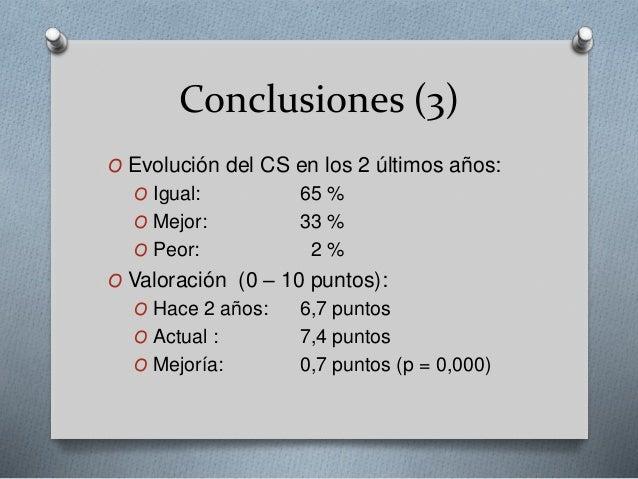 Conclusiones (3) O Evolución del CS en los 2 últimos años: O Igual: 65 % O Mejor: 33 % O Peor: 2 % O Valoración (0 – 10 pu...