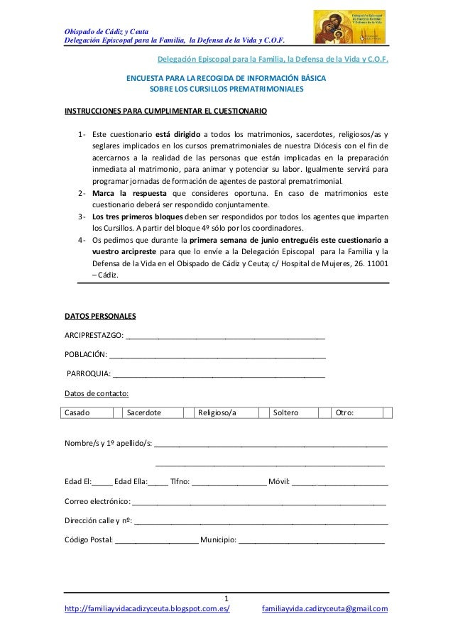 Obispado de Cádiz y CeutaDelegación Episcopal para la Familia, la Defensa de la Vida y C.O.F.1http://familiayvidacadizyceu...