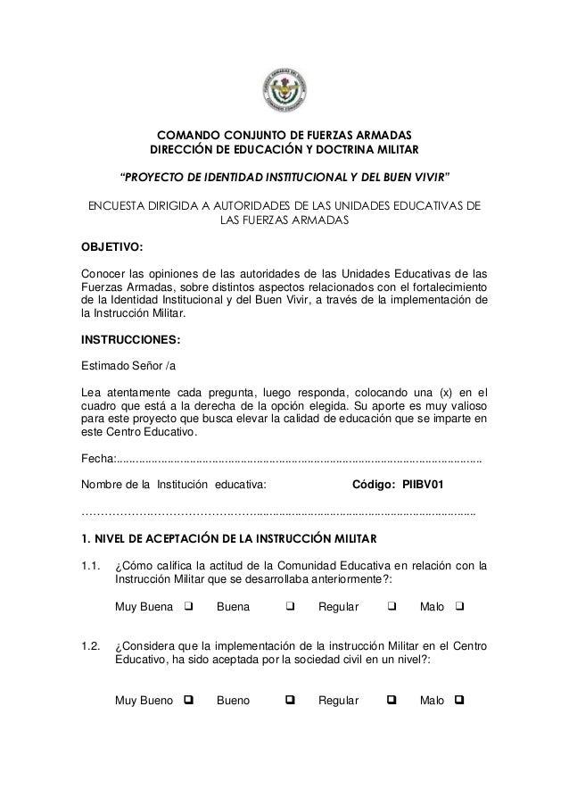 """COMANDO CONJUNTO DE FUERZAS ARMADAS DIRECCIÓN DE EDUCACIÓN Y DOCTRINA MILITAR """"PROYECTO DE IDENTIDAD INSTITUCIONAL Y DEL B..."""
